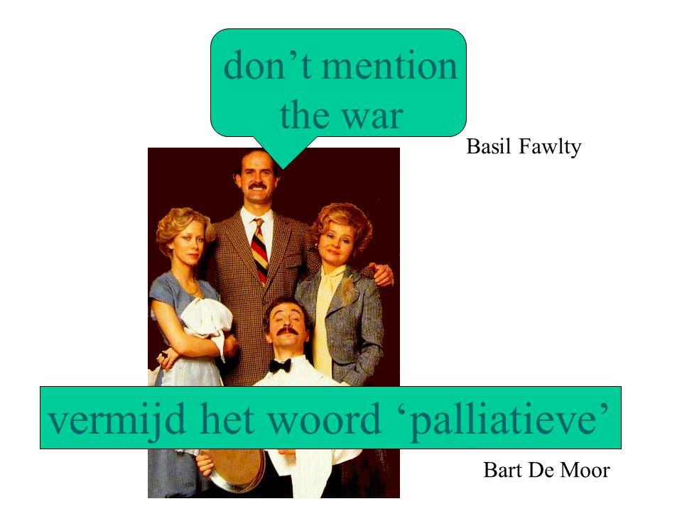 don't mention the war vermijd het woord 'palliatieve' Basil Fawlty Bart De Moor