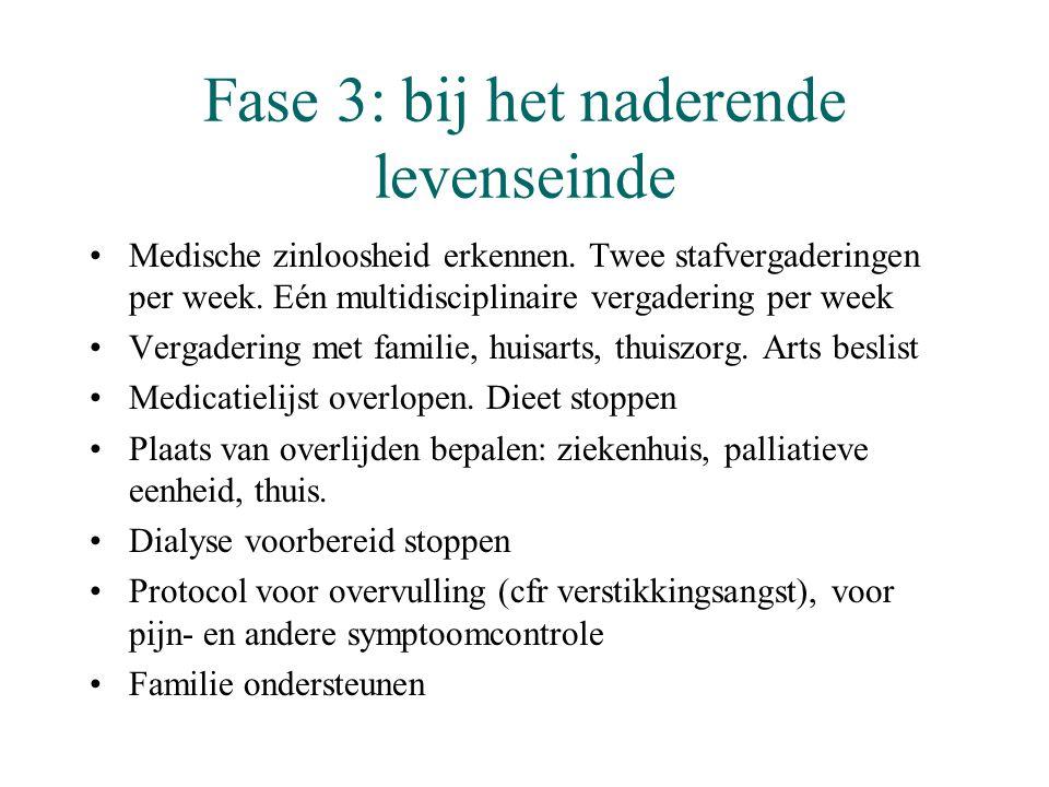 Fase 3: bij het naderende levenseinde •Medische zinloosheid erkennen. Twee stafvergaderingen per week. Eén multidisciplinaire vergadering per week •Ve