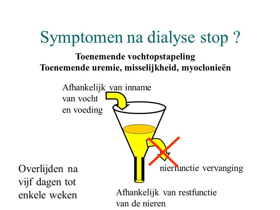 Symptomen na dialyse stop ? Afhankelijk van inname van vocht en voeding Afhankelijk van restfunctie van de nieren nierfunctie vervanging Overlijden na