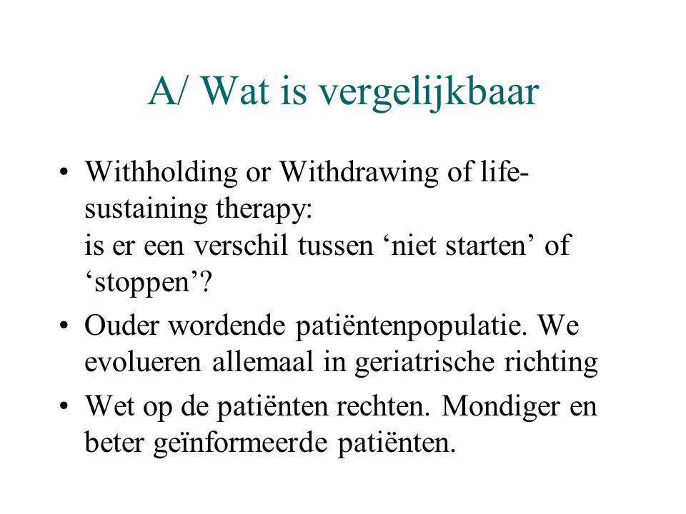 A/ Wat is vergelijkbaar •Withholding or Withdrawing of life- sustaining therapy: is er een verschil tussen 'niet starten' of 'stoppen'? •Ouder wordend