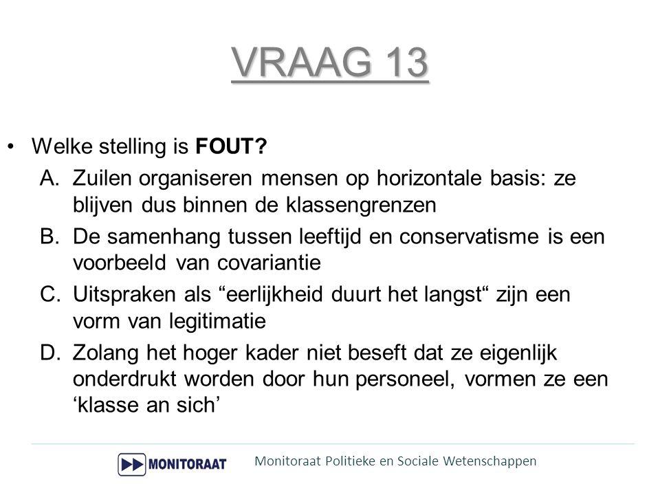 57,50 % correct  Zuilen organiseren mensen op horizontale basis: ze blijven dus binnen de klassengrenzen –Hoofdstuk 8 – pg.