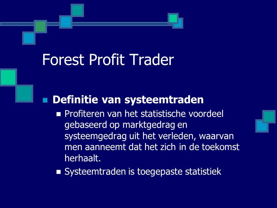 Forest Profit Trader  Definitie van systeemtraden  Profiteren van het statistische voordeel gebaseerd op marktgedrag en systeemgedrag uit het verled