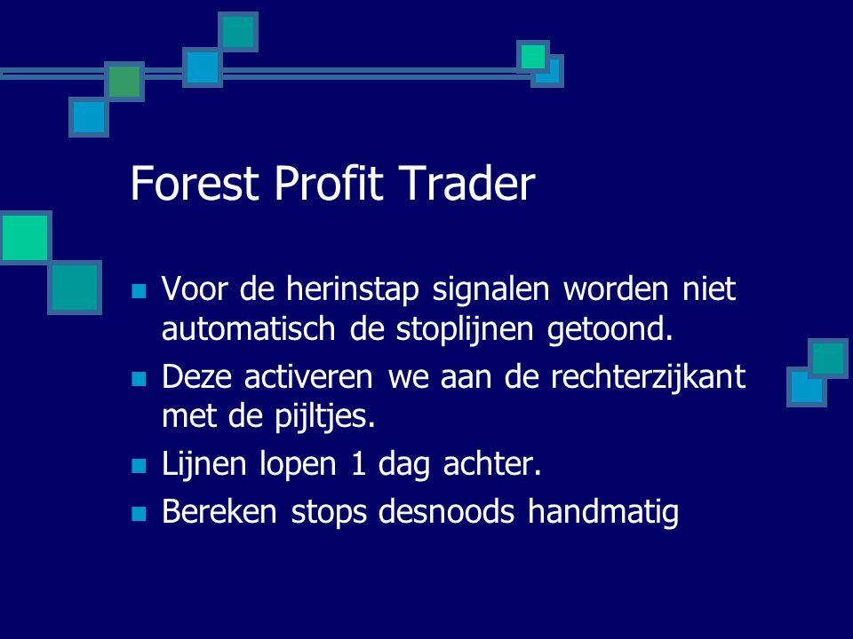 Forest Profit Trader  Voor de herinstap signalen worden niet automatisch de stoplijnen getoond.  Deze activeren we aan de rechterzijkant met de pijl