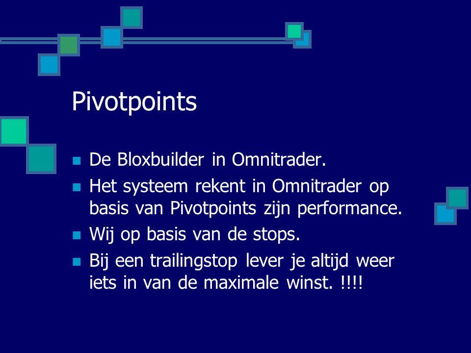 Pivotpoints  De Bloxbuilder in Omnitrader.  Het systeem rekent in Omnitrader op basis van Pivotpoints zijn performance.  Wij op basis van de stops.
