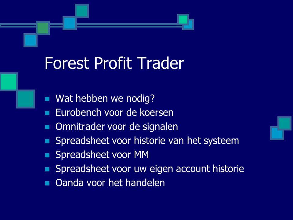 Forest Profit Trader  Wat hebben we nodig?  Eurobench voor de koersen  Omnitrader voor de signalen  Spreadsheet voor historie van het systeem  Sp