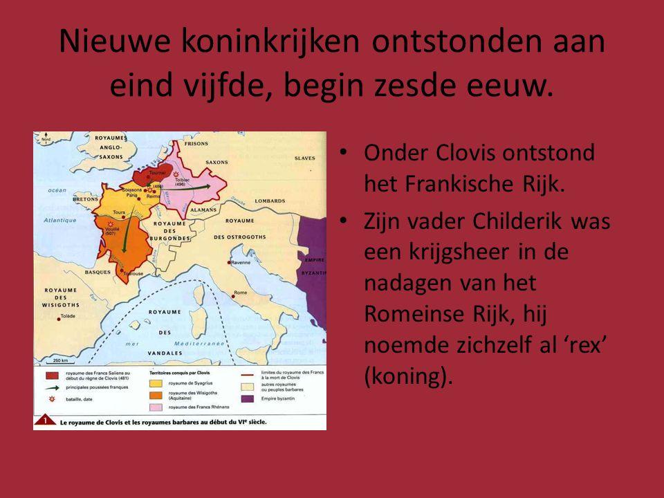 Koning Clovis (481-511) • De vrouw van Clovis was christen • Clovis hoopte op samenwerking met de kerk.