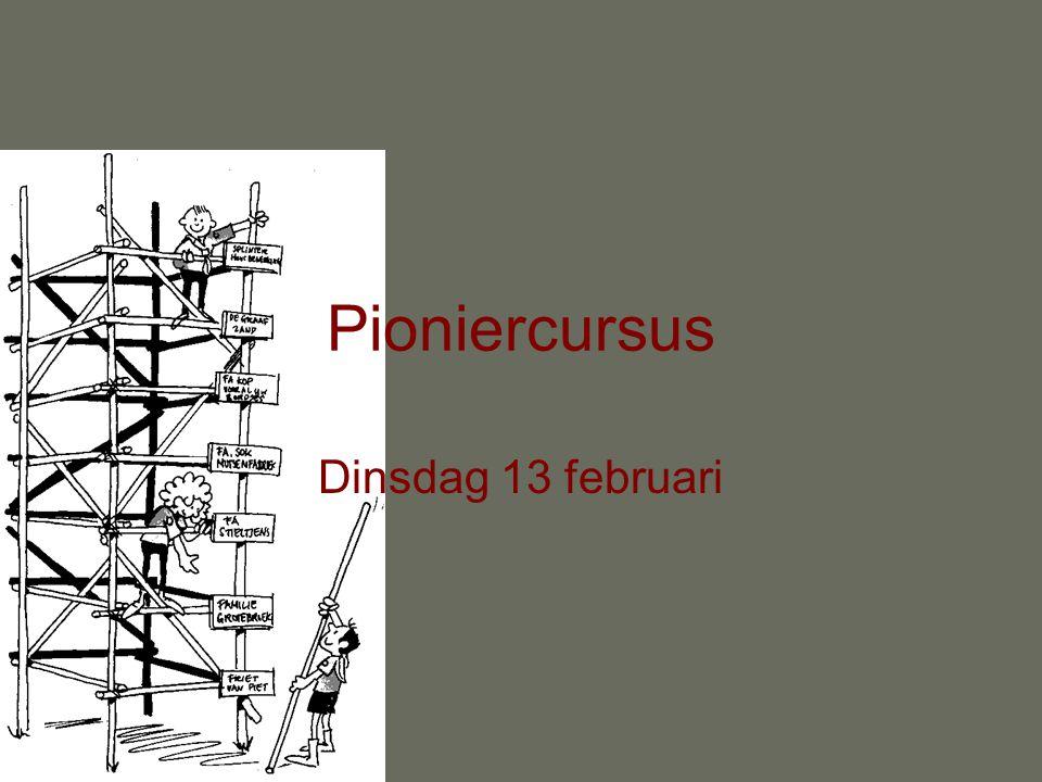 Pioniercursus Dinsdag 13 februari