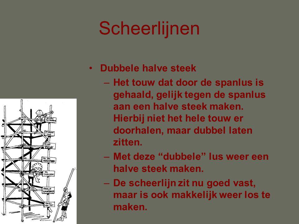 Scheerlijnen •Spanlus: –Lus maken in het touw met een extra halve draai –Touw onder de lus, gedeeltelijk door de lus halen en naar beneden strak trekken