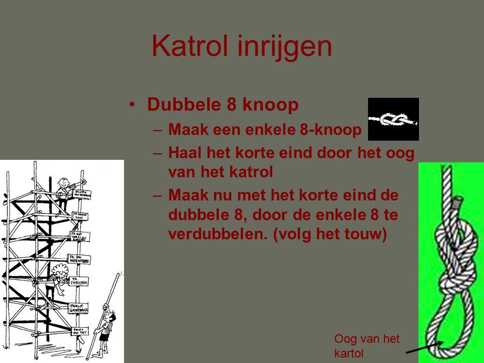 Katrol inrijgen •Nauwkeurig werken •Touw aan het oog van het kartol vastknopen met dubbele 8 knoop •Touw inrijgen, starten bij andere kartol.
