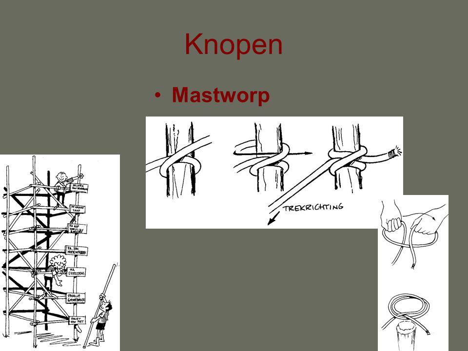 Scheerlijnen •Aan paal een mastworp met een halve steek er onder.