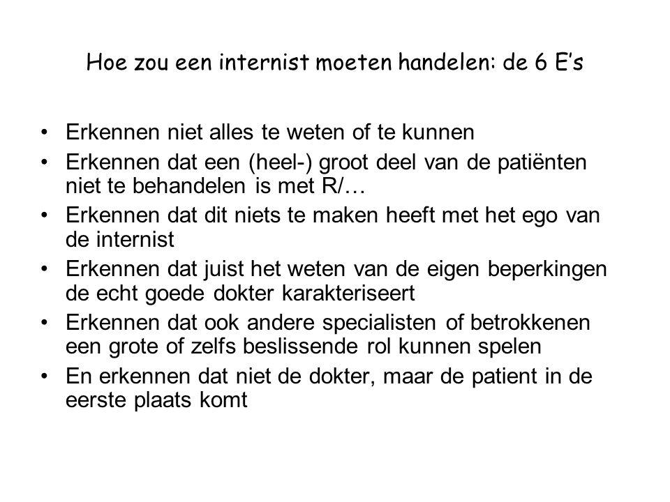 Hoe zou een internist moeten handelen: de 6 E's •Erkennen niet alles te weten of te kunnen •Erkennen dat een (heel-) groot deel van de patiënten niet