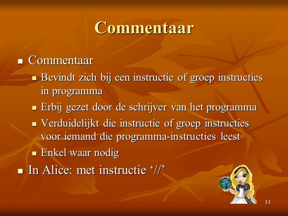 13 Commentaar  Commentaar  Bevindt zich bij een instructie of groep instructies in programma  Erbij gezet door de schrijver van het programma  Ver