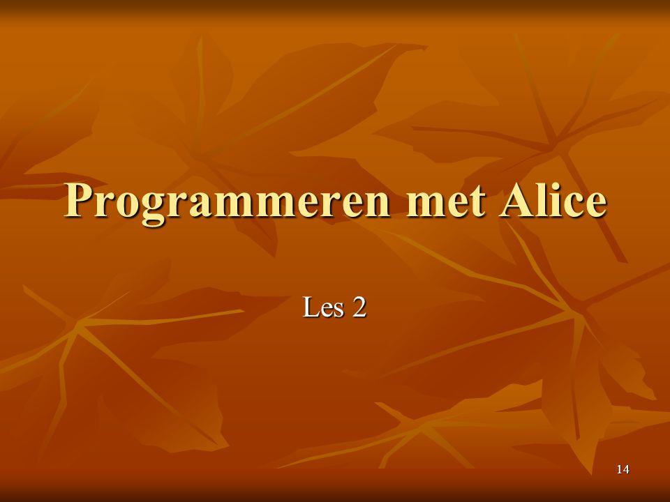 14 Programmeren met Alice Les 2