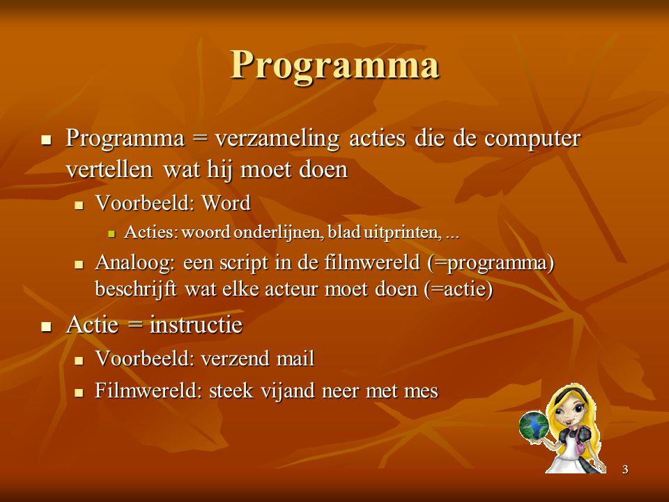 3 Programma  Programma = verzameling acties die de computer vertellen wat hij moet doen  Voorbeeld: Word  Acties: woord onderlijnen, blad uitprinte