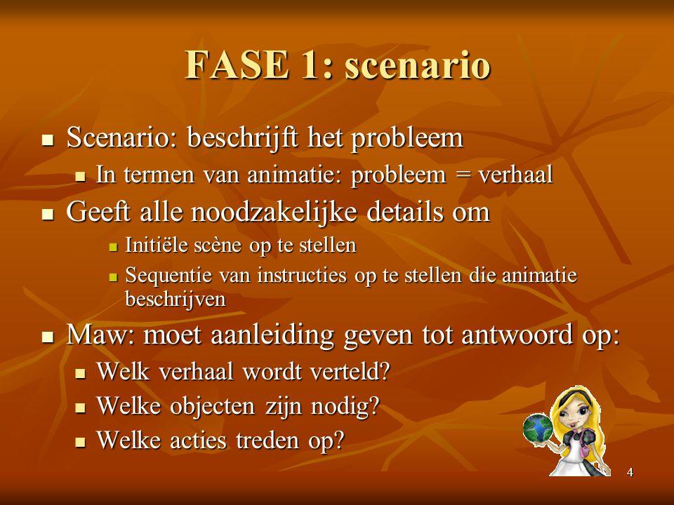 4 FASE 1: scenario  Scenario: beschrijft het probleem  In termen van animatie: probleem = verhaal  Geeft alle noodzakelijke details om  Initiële s