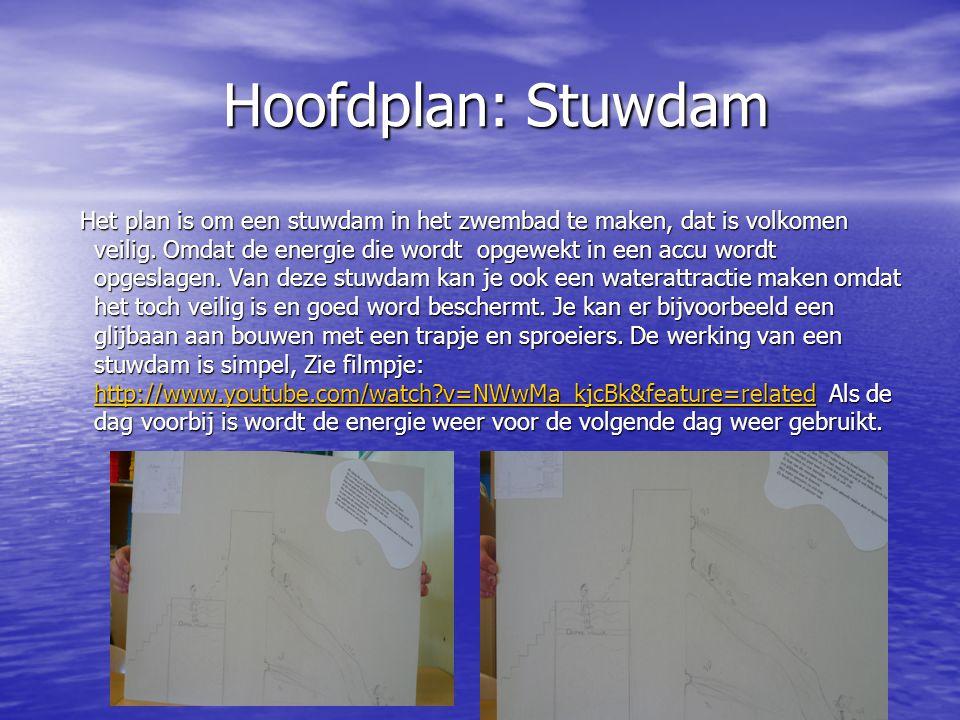 Hoofdplan: Stuwdam Hoofdplan: Stuwdam Het plan is om een stuwdam in het zwembad te maken, dat is volkomen veilig. Omdat de energie die wordt opgewekt