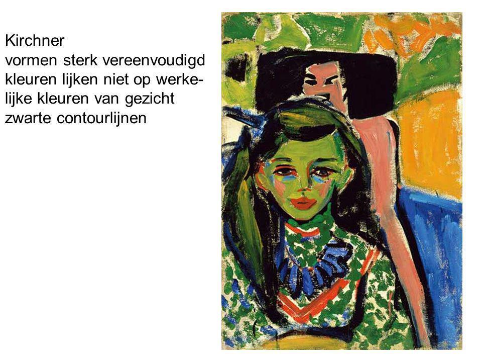 Kirchner vormen sterk vereenvoudigd kleuren lijken niet op werke- lijke kleuren van gezicht zwarte contourlijnen