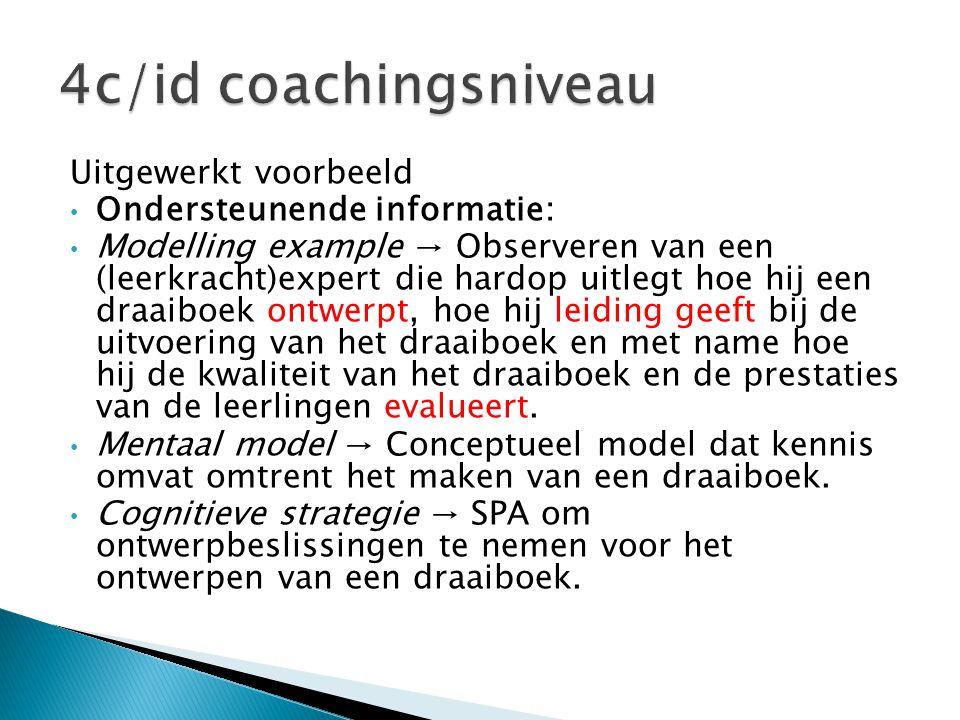 Uitgewerkt voorbeeld • Ondersteunende informatie: • Modelling example → Observeren van een (leerkracht)expert die hardop uitlegt hoe hij een draaiboek