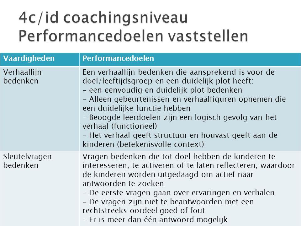 VaardighedenPerformancedoelen Verhaallijn bedenken Een verhaallijn bedenken die aansprekend is voor de doel/leeftijdsgroep en een duidelijk plot heeft