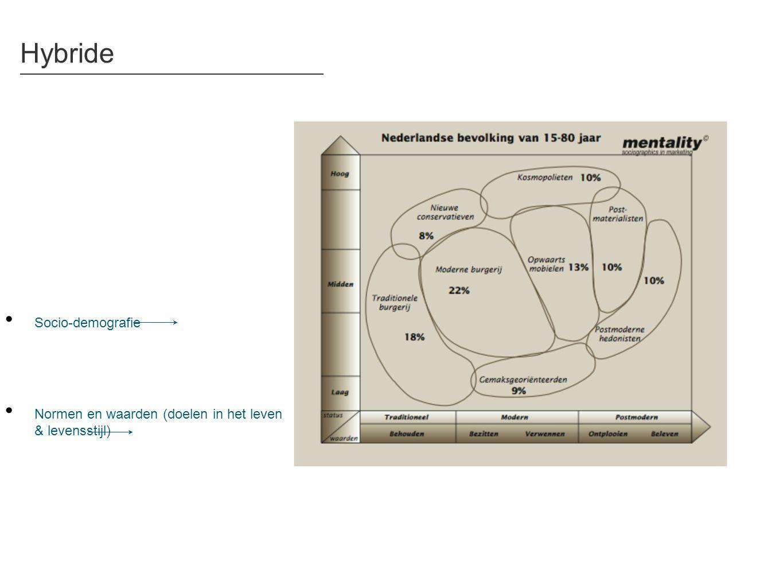 Hybride • Socio-demografie • Normen en waarden (doelen in het leven & levensstijl)