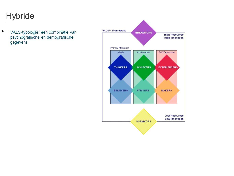 Hybride • VALS-typologie: een combinatie van psychografische en demografische gegevens