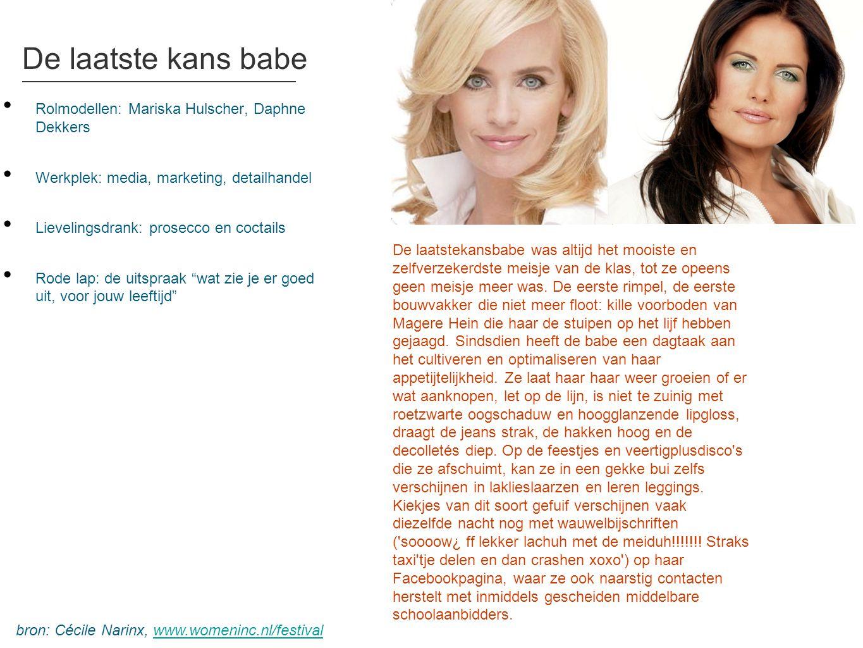 De laatste kans babe • Rolmodellen: Mariska Hulscher, Daphne Dekkers • Werkplek: media, marketing, detailhandel • Lievelingsdrank: prosecco en coctail