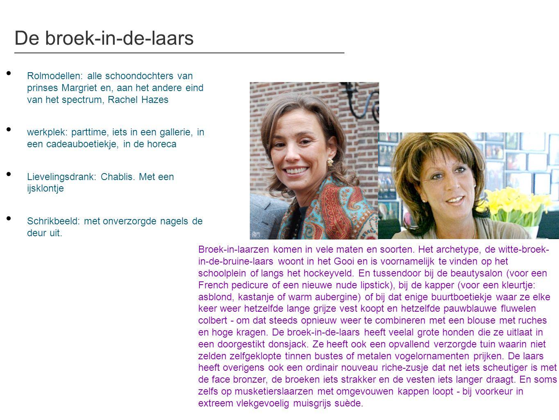 De broek-in-de-laars • Rolmodellen: alle schoondochters van prinses Margriet en, aan het andere eind van het spectrum, Rachel Hazes • werkplek: partti