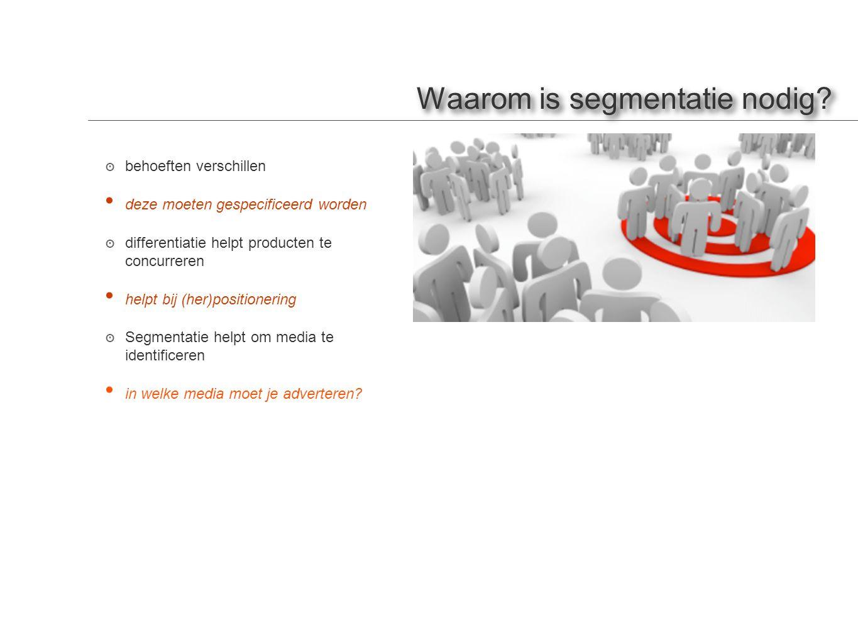 Waarom is segmentatie nodig? ๏ behoeften verschillen • deze moeten gespecificeerd worden ๏ differentiatie helpt producten te concurreren • helpt bij (