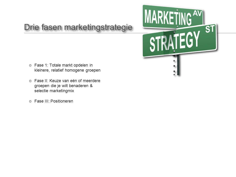 Drie fasen marketingstrategie ๏ Fase 1: Totale markt opdelen in kleinere, relatief homogene groepen ๏ Fase II: Keuze van eén of meerdere groepen die je wilt benaderen & selectie marketingmix ๏ Fase III: Positioneren