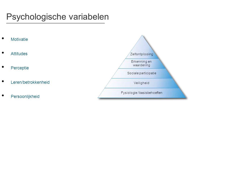 Psychologische variabelen • Motivatie • Attitudes • Perceptie • Leren/betrokkenheid • Persoonlijkheid