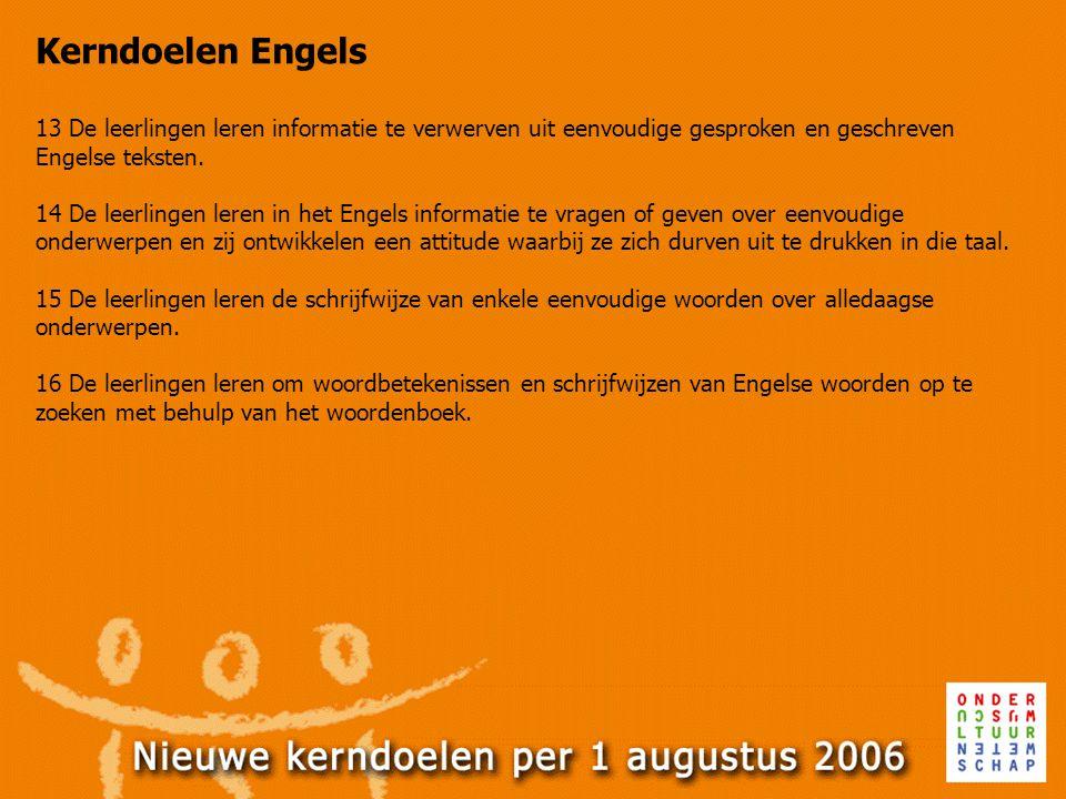 Kerndoelen Engels 13 De leerlingen leren informatie te verwerven uit eenvoudige gesproken en geschreven Engelse teksten. 14 De leerlingen leren in het