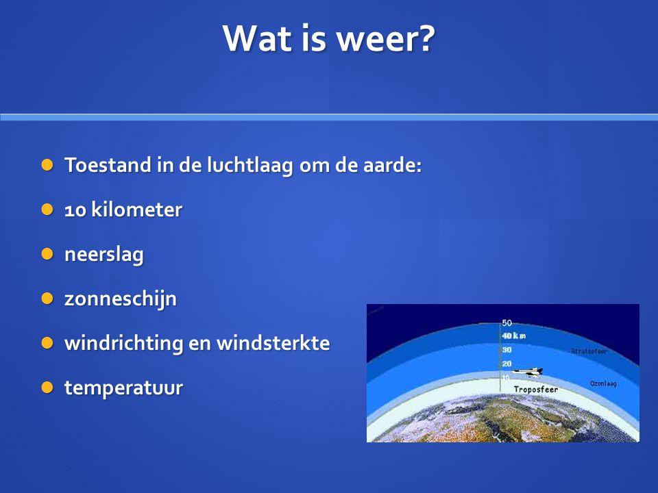 Wat is weer?  Toestand in de luchtlaag om de aarde:  10 kilometer  neerslag  zonneschijn  windrichting en windsterkte  temperatuur