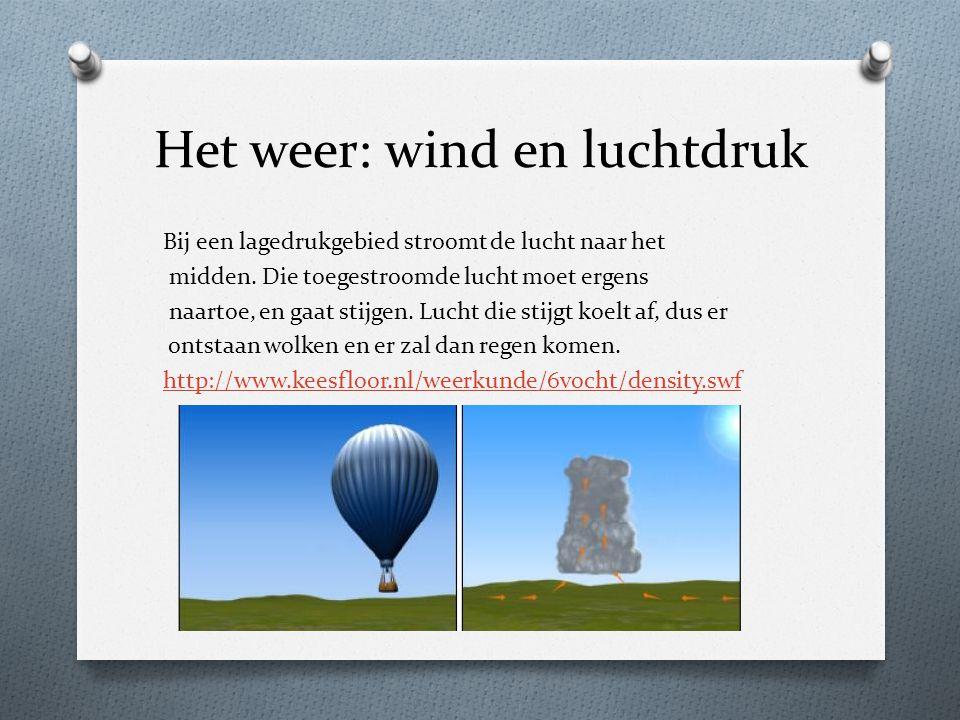 Het weer: wind en luchtdruk Bij een lagedrukgebied stroomt de lucht naar het midden. Die toegestroomde lucht moet ergens naartoe, en gaat stijgen. Luc