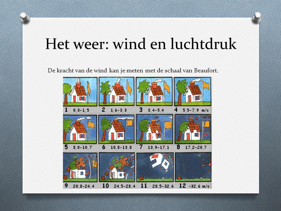 Het weer: wind en luchtdruk De kracht van de wind kan je meten met de schaal van Beaufort.