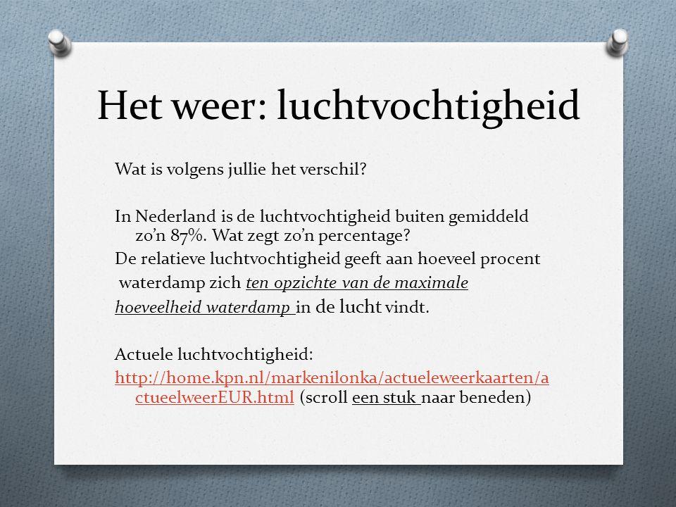Wat is volgens jullie het verschil? In Nederland is de luchtvochtigheid buiten gemiddeld zo'n 87%. Wat zegt zo'n percentage? De relatieve luchtvochtig