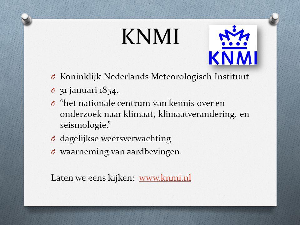 """KNMI O Koninklijk Nederlands Meteorologisch Instituut O 31 januari 1854. O """"het nationale centrum van kennis over en onderzoek naar klimaat, klimaatve"""
