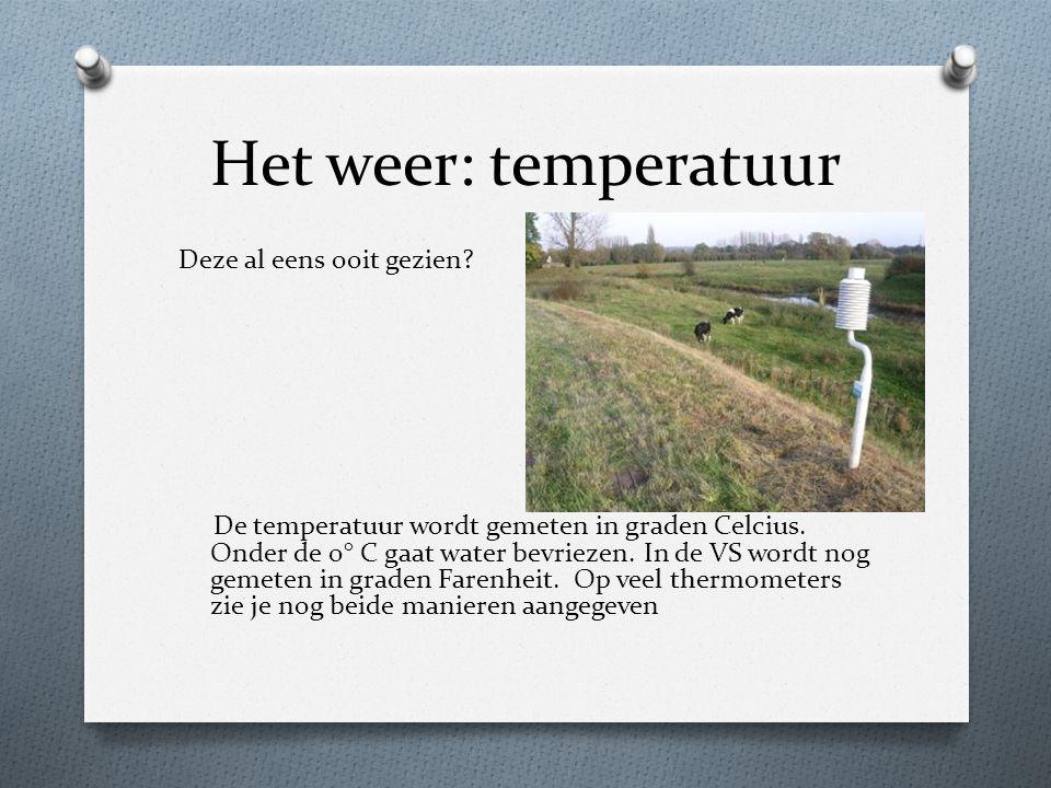 Het weer: temperatuur Deze al eens ooit gezien? De temperatuur wordt gemeten in graden Celcius. Onder de 0° C gaat water bevriezen. In de VS wordt nog