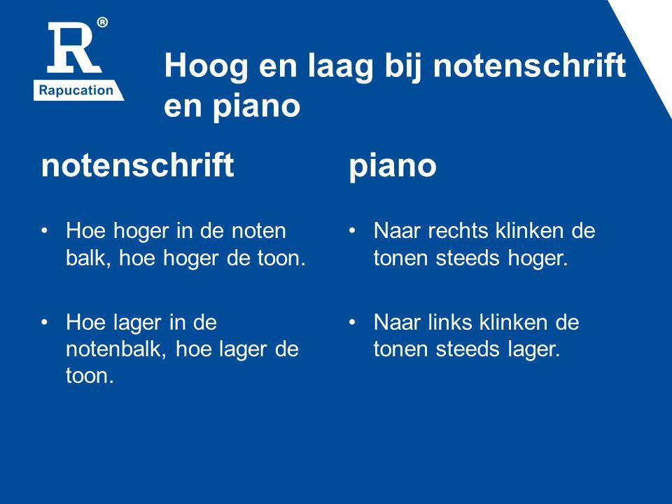Hoog en laag bij notenschrift en piano notenschrift • Hoe hoger in de noten balk, hoe hoger de toon. • Hoe lager in de notenbalk, hoe lager de toon. p