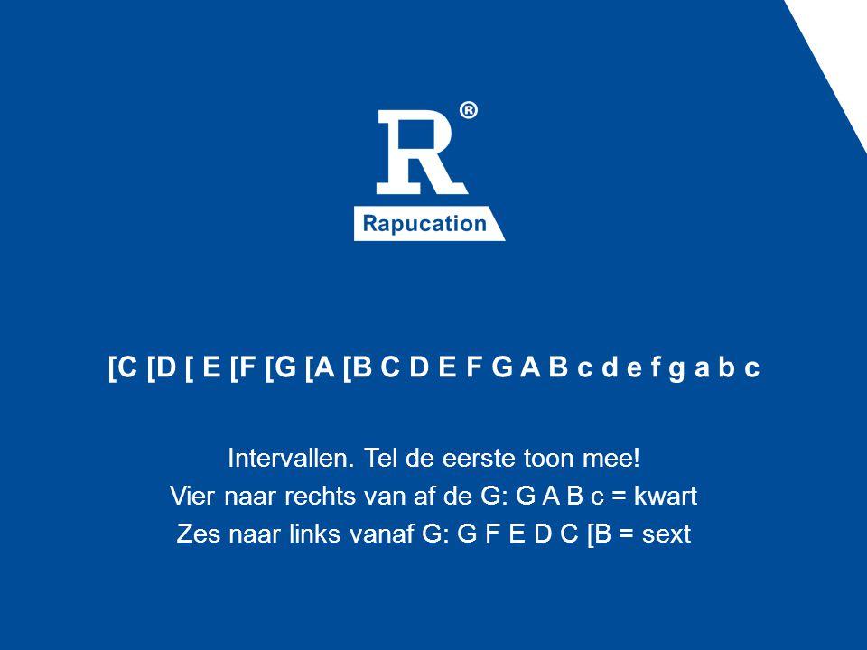 [C [D [ E [F [G [A [B C D E F G A B c d e f g a b c Intervallen. Tel de eerste toon mee! Vier naar rechts van af de G: G A B c = kwart Zes naar links