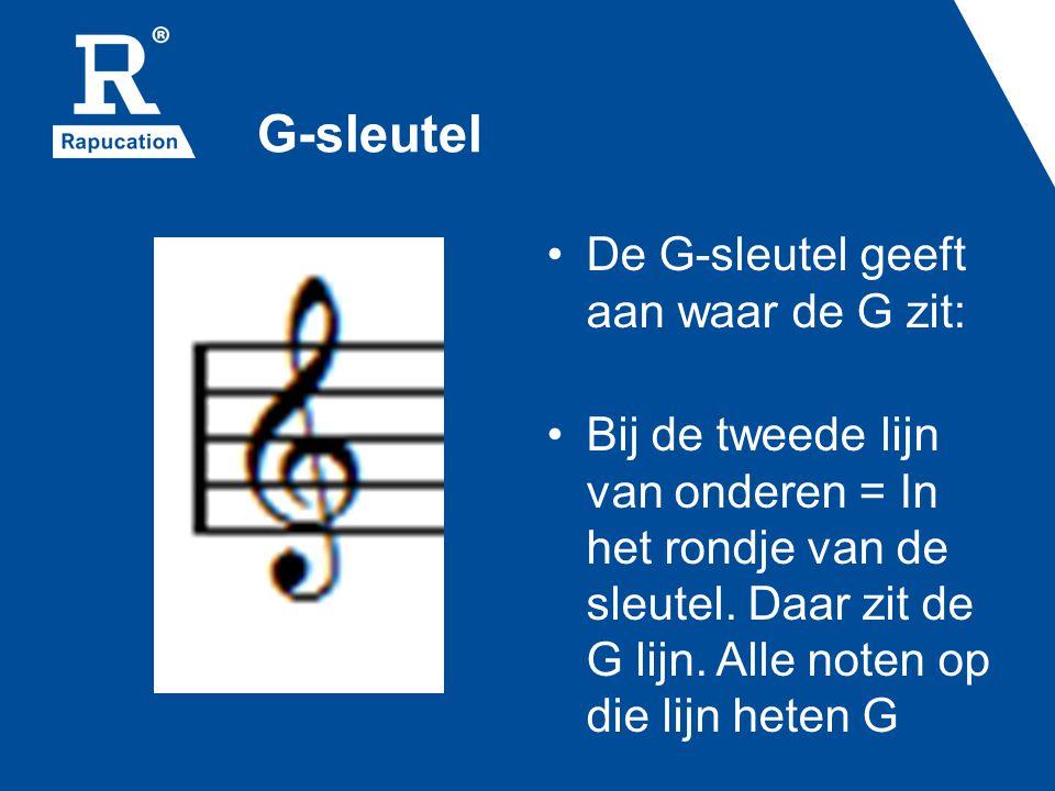 G-sleutel • De G-sleutel geeft aan waar de G zit: • Bij de tweede lijn van onderen = In het rondje van de sleutel. Daar zit de G lijn. Alle noten op d