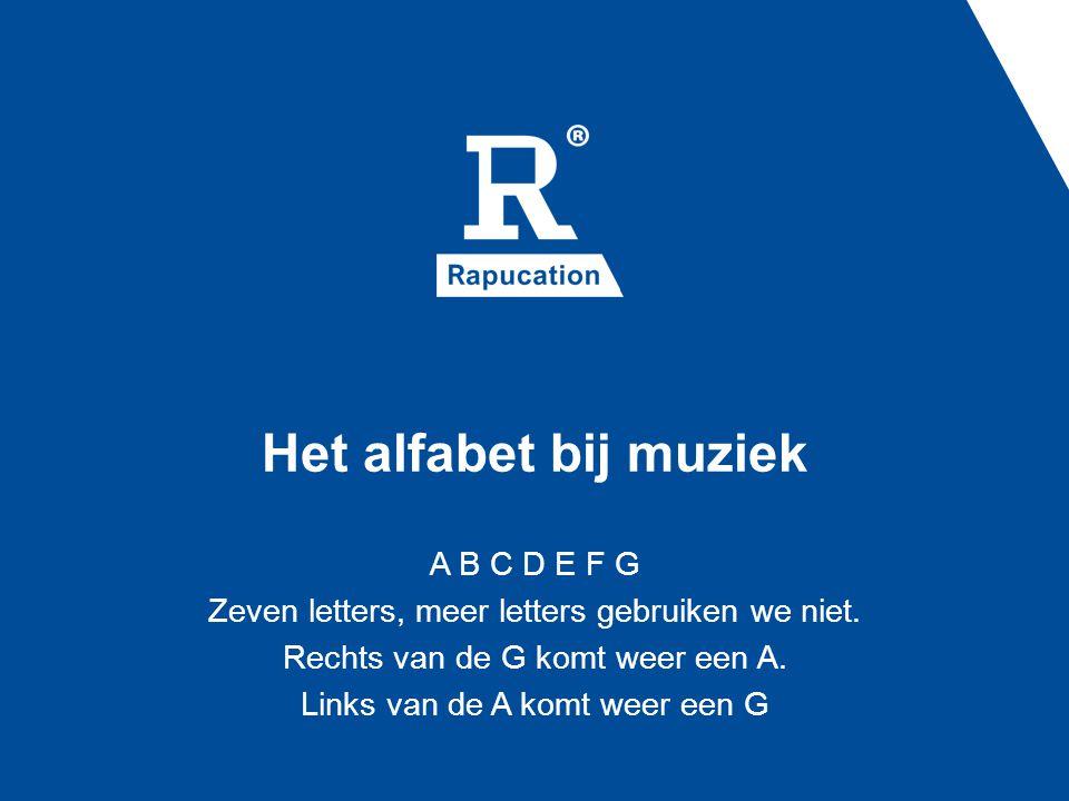 Het alfabet bij muziek A B C D E F G Zeven letters, meer letters gebruiken we niet. Rechts van de G komt weer een A. Links van de A komt weer een G
