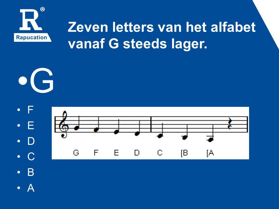 Zeven letters van het alfabet vanaf G steeds hoger •F•E•D•C•B•A•G•F•E•D•C•B•A•G