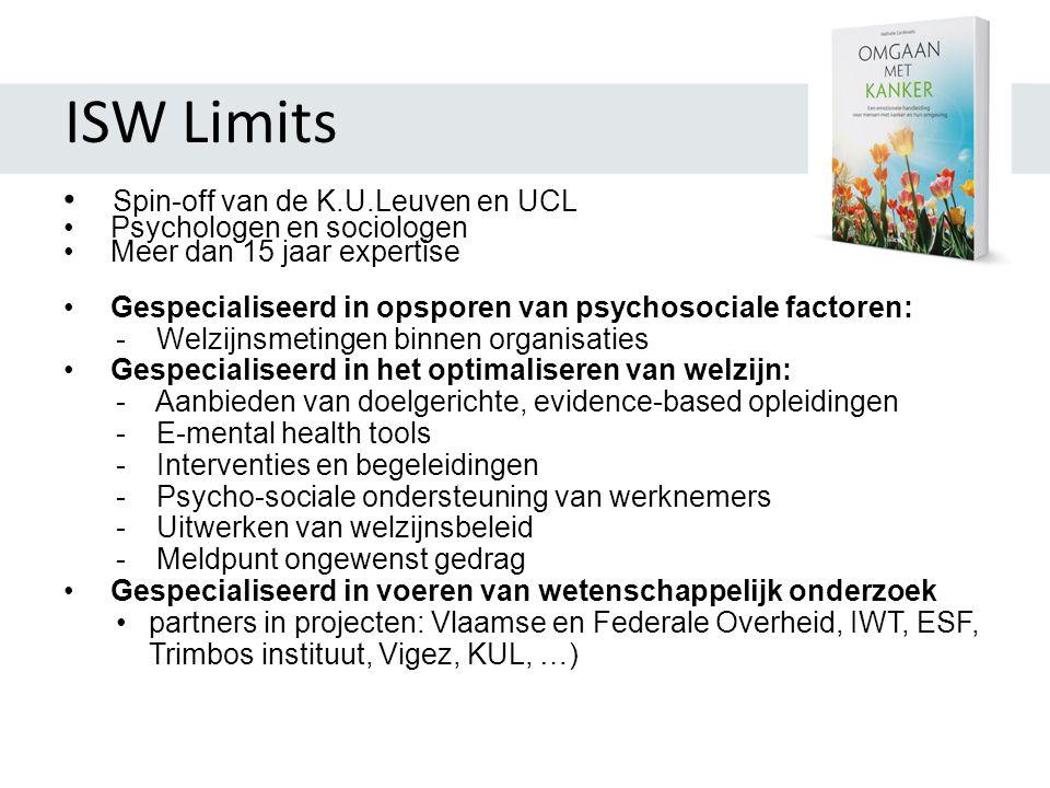 ISW Limits • Spin-off van de K.U.Leuven en UCL • Psychologen en sociologen • Meer dan 15 jaar expertise • Gespecialiseerd in opsporen van psychosociale factoren: - Welzijnsmetingen binnen organisaties • Gespecialiseerd in het optimaliseren van welzijn: - Aanbieden van doelgerichte, evidence-based opleidingen - E-mental health tools - Interventies en begeleidingen - Psycho-sociale ondersteuning van werknemers - Uitwerken van welzijnsbeleid - Meldpunt ongewenst gedrag • Gespecialiseerd in voeren van wetenschappelijk onderzoek •partners in projecten: Vlaamse en Federale Overheid, IWT, ESF, Trimbos instituut, Vigez, KUL, …)