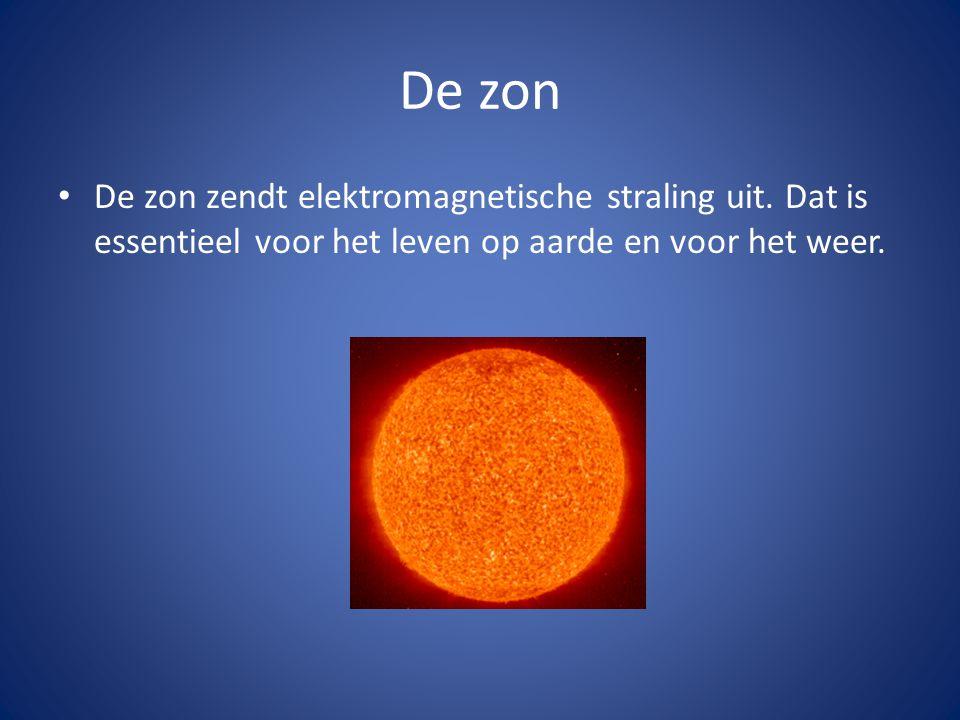 De zon • De zon zendt elektromagnetische straling uit. Dat is essentieel voor het leven op aarde en voor het weer.