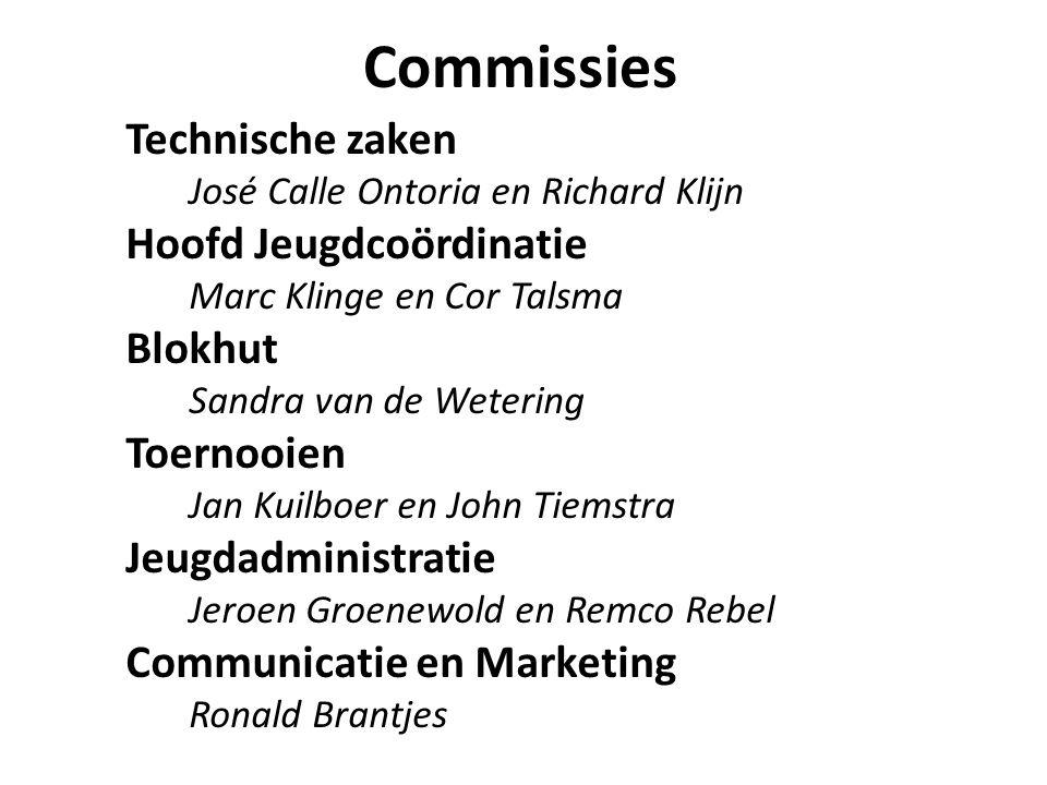 Commissies Technische zaken José Calle Ontoria en Richard Klijn Hoofd Jeugdcoördinatie Marc Klinge en Cor Talsma Blokhut Sandra van de Wetering Toerno