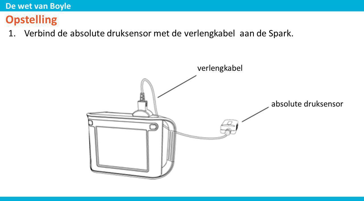 De wet van Boyle Opstelling 1. Verbind de absolute druksensor met de verlengkabel aan de Spark. verlengkabel absolute druksensor