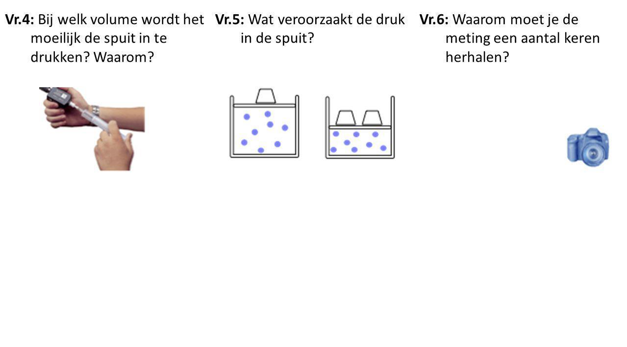 Vr.4: Bij welk volume wordt het moeilijk de spuit in te drukken? Waarom? Vr.5: Wat veroorzaakt de druk in de spuit? Vr.6: Waarom moet je de meting een