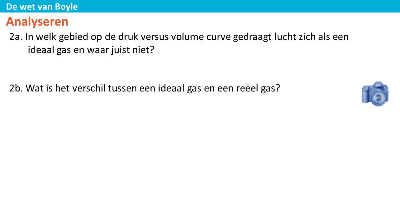 De wet van Boyle Analyseren 2a. In welk gebied op de druk versus volume curve gedraagt lucht zich als een ideaal gas en waar juist niet? 2b. Wat is he