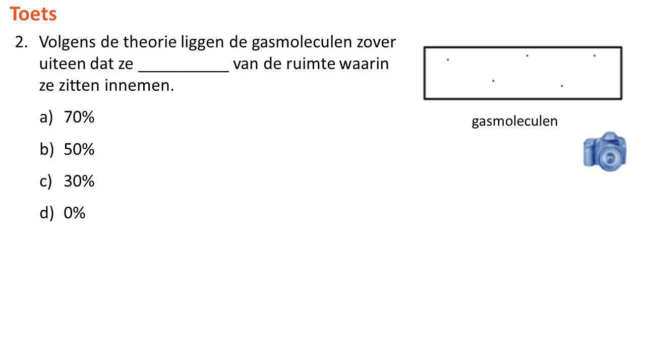 Toets 2.Volgens de theorie liggen de gasmoleculen zover uiteen dat ze __________ van de ruimte waarin ze zitten innemen. a)70% b)50% c)30% d)0% gasmol