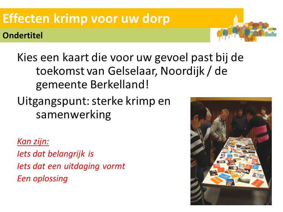 Effecten krimp voor uw dorp Ondertitel Kies een kaart die voor uw gevoel past bij de toekomst van Gelselaar, Noordijk / de gemeente Berkelland.
